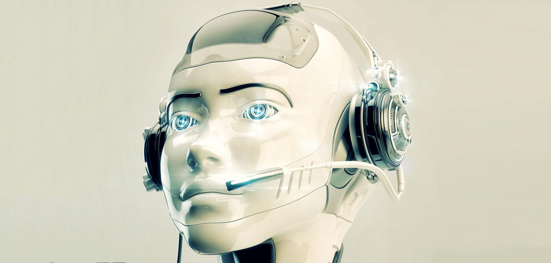 Robot wearing customer service headset