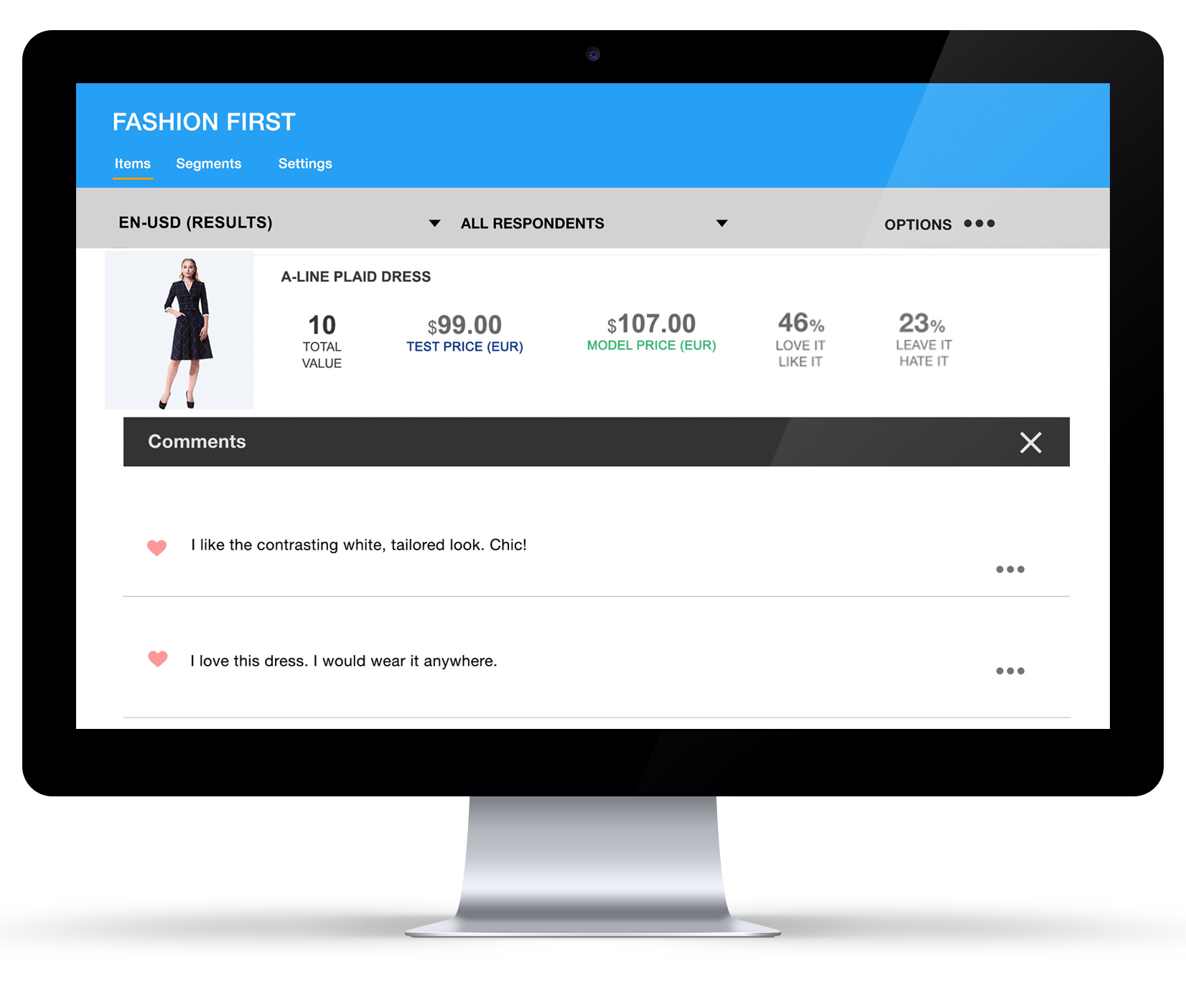 Consumer feedback screen